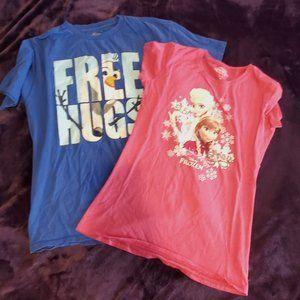 Lot of 2 Girls Frozen shirts